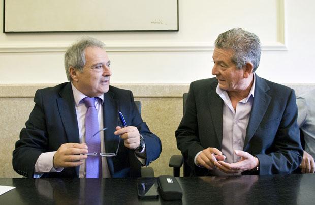 El presidente de la Diputación de Valencia,  Alfonso Rus,  y el alcalde de Albuixech,  José Vicente Andreu.