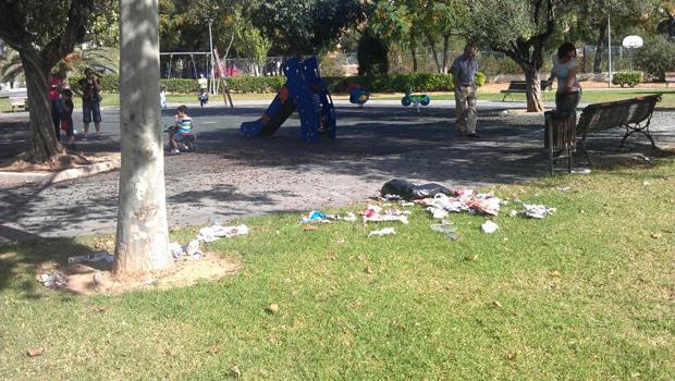 Suciedad acumulada en el parque de Santa Rita. (Foto: PSPV)