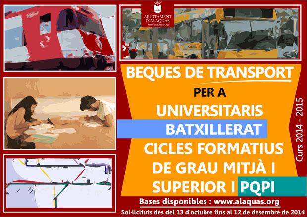 cartel becas de transporte curso 2014 2015 alaquàs