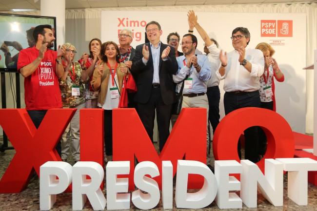 PSPV. Ximo Puig. Noche electoral
