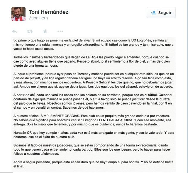 HuracanCF-carta-presidente-twitter-partido-UDLogroñes