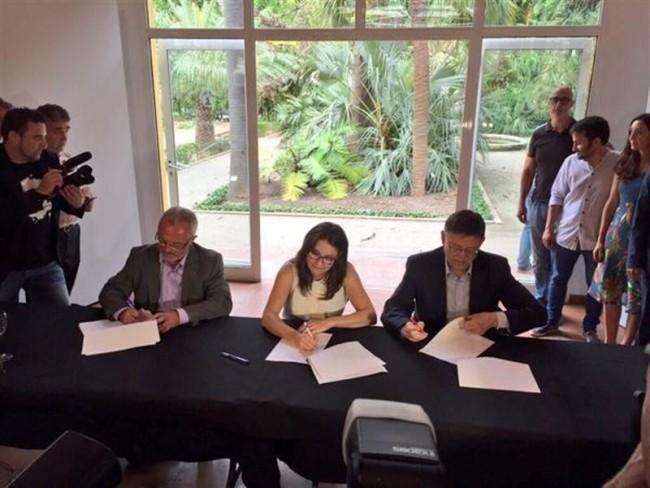 Puig-Oltra-Montiel-PSPV-Compromis-Podemos