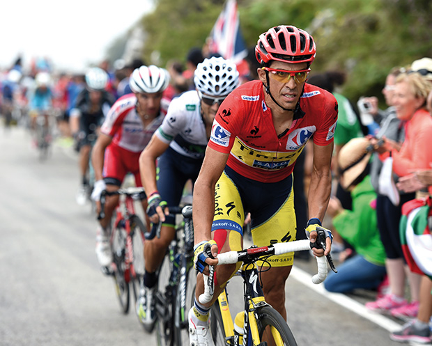 Alberto Contador attacks on stage fifteen of the 2014 Tour of Spain