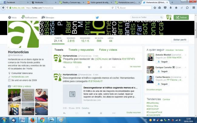 Hortanoticias. Twitter