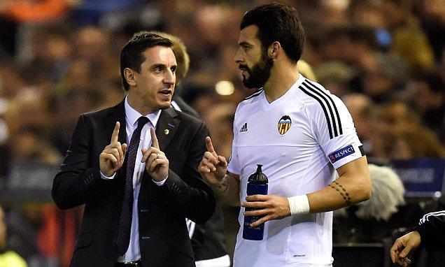 Valencia CF. Gary Neville y Alvaro Negredo