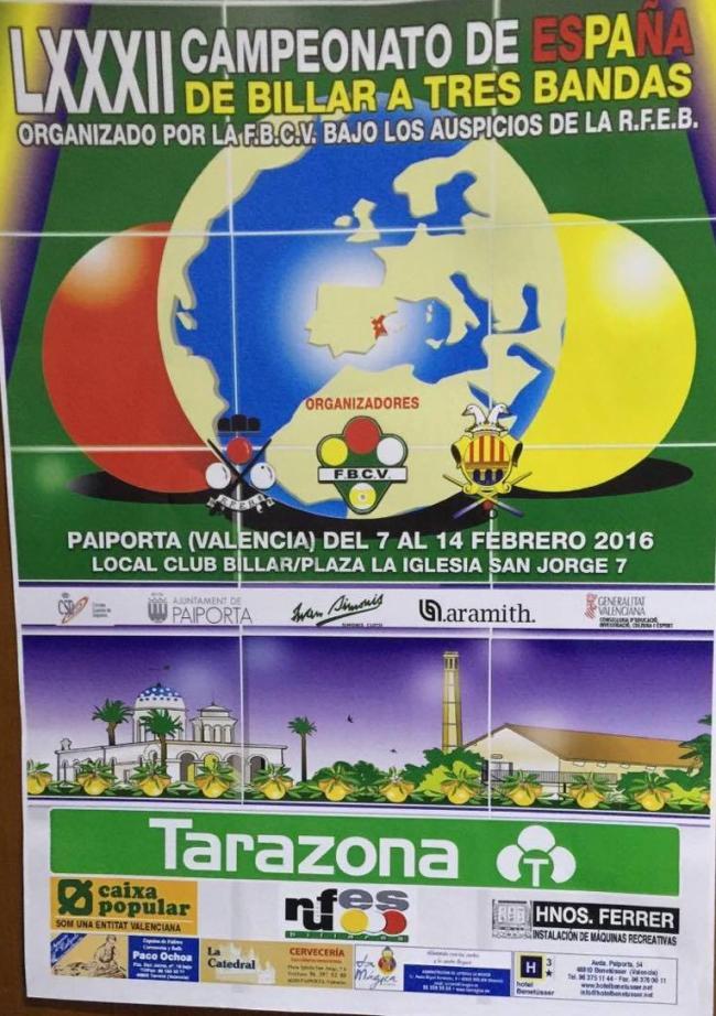 cartel campeonato españa billar en paiporta