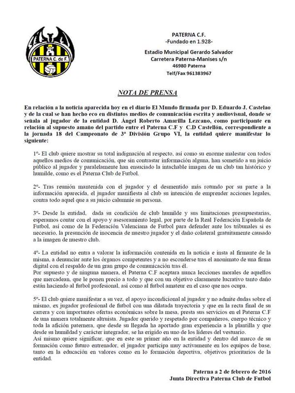 Paterna CF. Comunicado. amaño partido CD Castellón