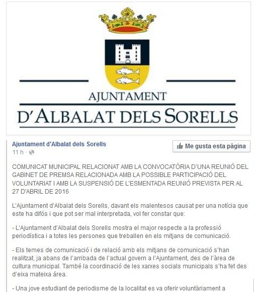 Comunicado Albalat. Tema gabinete de prensa