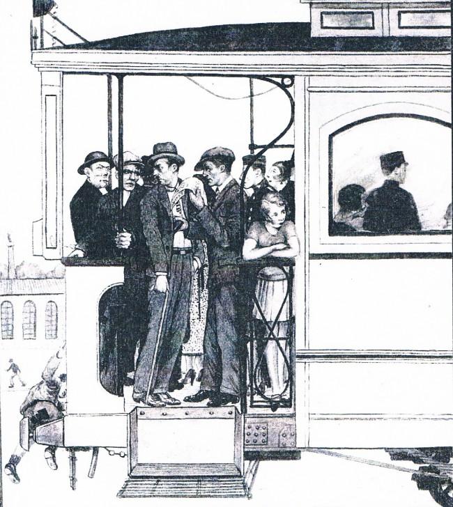 Valencia Canalla. Carterista en el tranvía. Dibujo. Años 30