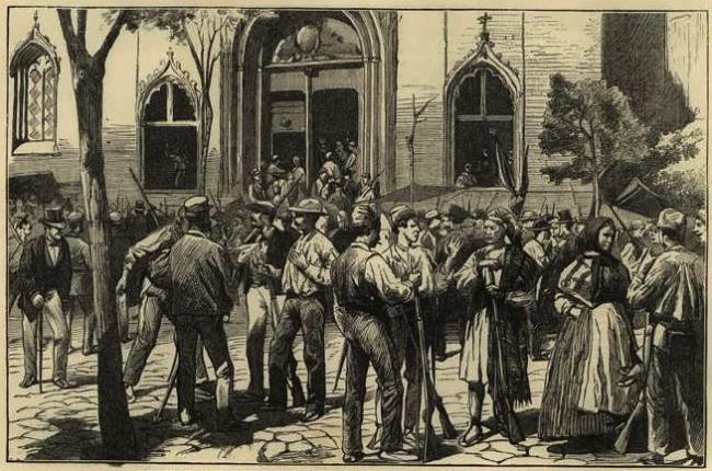 Valencia Canalla. Tumulto en la plaza del Mercado. 1873