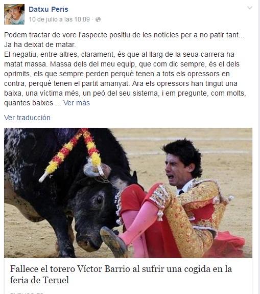 Datxu Peris. Guanyar Catarroja. muerte torero