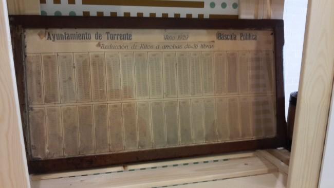 Tabla bascula pública Torrent 1929
