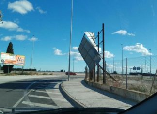 Temporal viento Alfafar cartel caido
