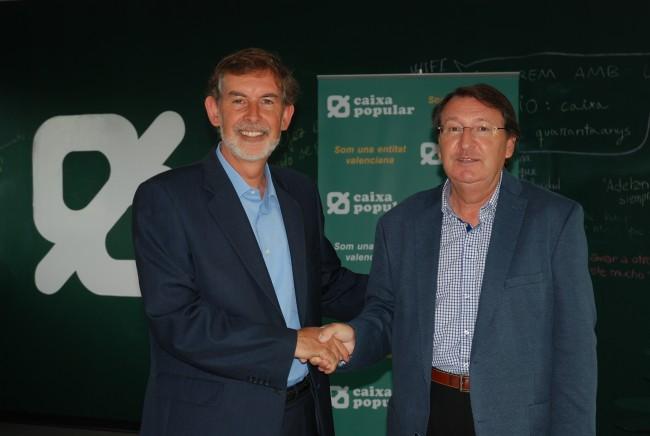 Vicente Furió y Rosendo Ortí, en la firma del convenio de Fundación Levante y Caixa Popular.
