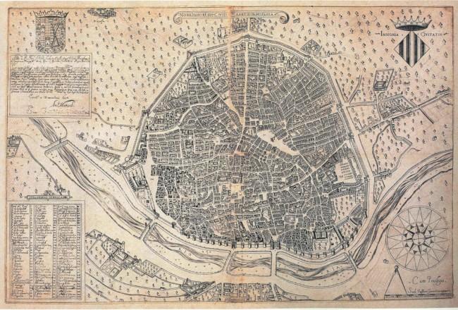 Societat Bibliogràfica Valenciana Jerònima Galés ha reeditado el conocido como Plano de Manceli (o Mancelli), el más antiguo que se conserva de la ciudad de València
