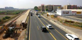 Obras v-30 a la altura de Xirivella