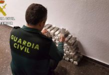 Guardia Civil Puçol incauta 100 kilos de hachís