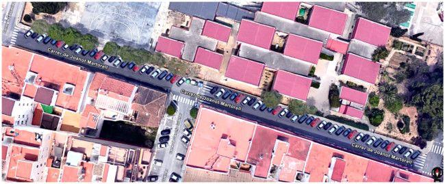 Joanot Martorell, aparcamiento en batería (propuesta de Cs)