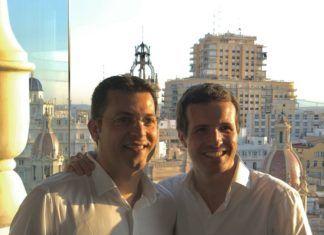 Pablo Casado y Juan Ramón Adsuara en Valencia