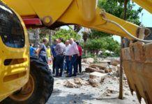 Burjassot inicia las tareas de retirada de restos y consolidación del muro del Patio de Los Silos que cayó por la lluvia
