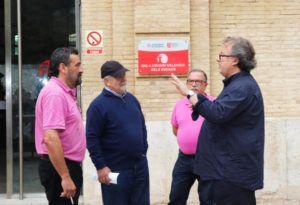 Algunos socios de la Peña Guzpatarra ( Miguel Uris, Carlos Morenilla, Sebastián Pérez y J.A. Garzón)