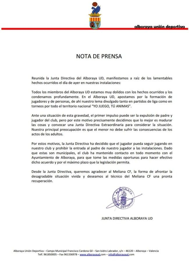 UD Alboraya comunicado