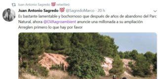 Sagredo tuit contra Medio Ambiente