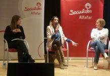 Acto PSPV Alfafar Rosa Peris, Noelia García y Maria Such