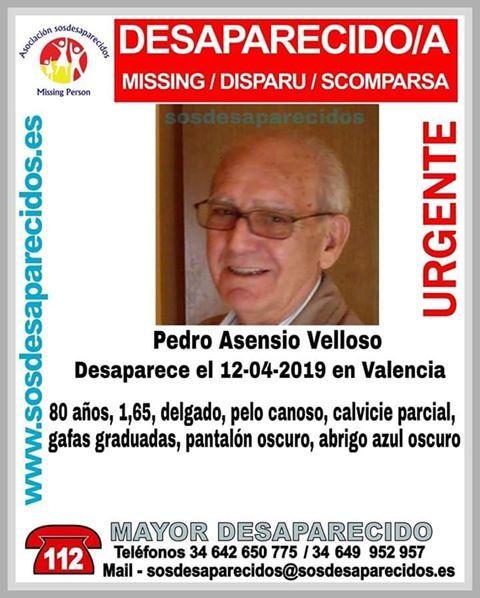 pedro asensio desaparecido Valencia