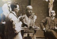 Benlloch realitzant el retrat de Faustí Valentín Torrejón, alcalde de València