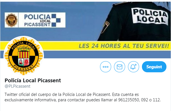 Twitter Policia Local Picassent