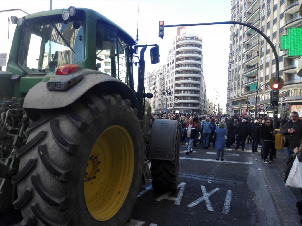 manifestacion agriocultores centro de Valencia