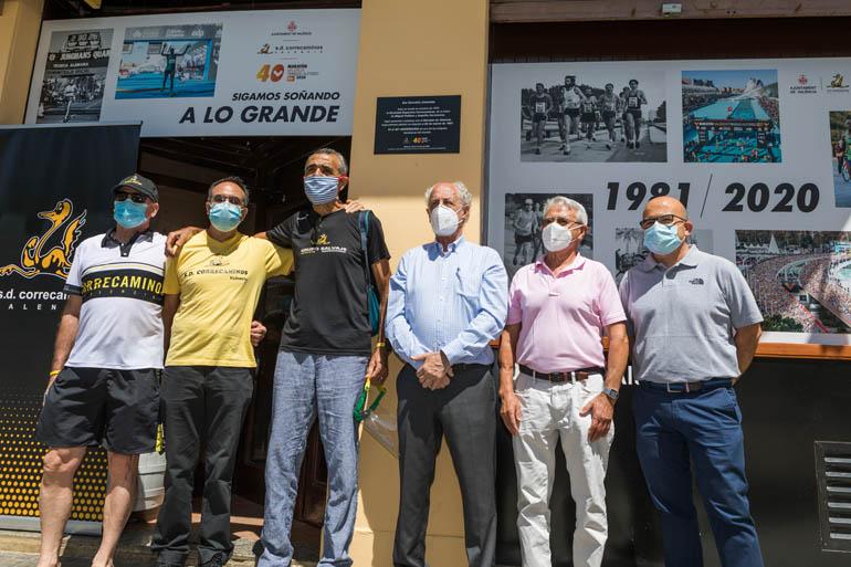 Históricos de SD Correcaminos: Julián González, Manuel Gutierrez, Roberto Ferrandis (ex presidente), Paco Borao (presidente), Luis Navas y Rafa Lastra (Hijo de Toni Lastra).
