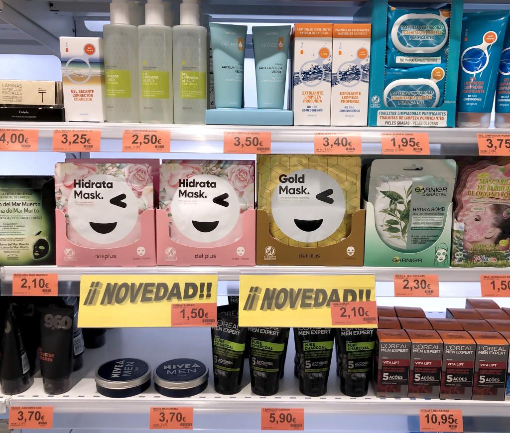Las mascarillas faciales Hidrata Mask y Gold Mask, en el lineal de Perfumería de Mercadona