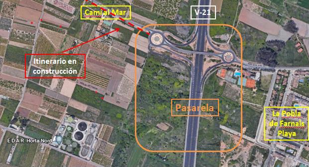 projecte passarel·la sobre la CV-21 a la Pobla de Farnals