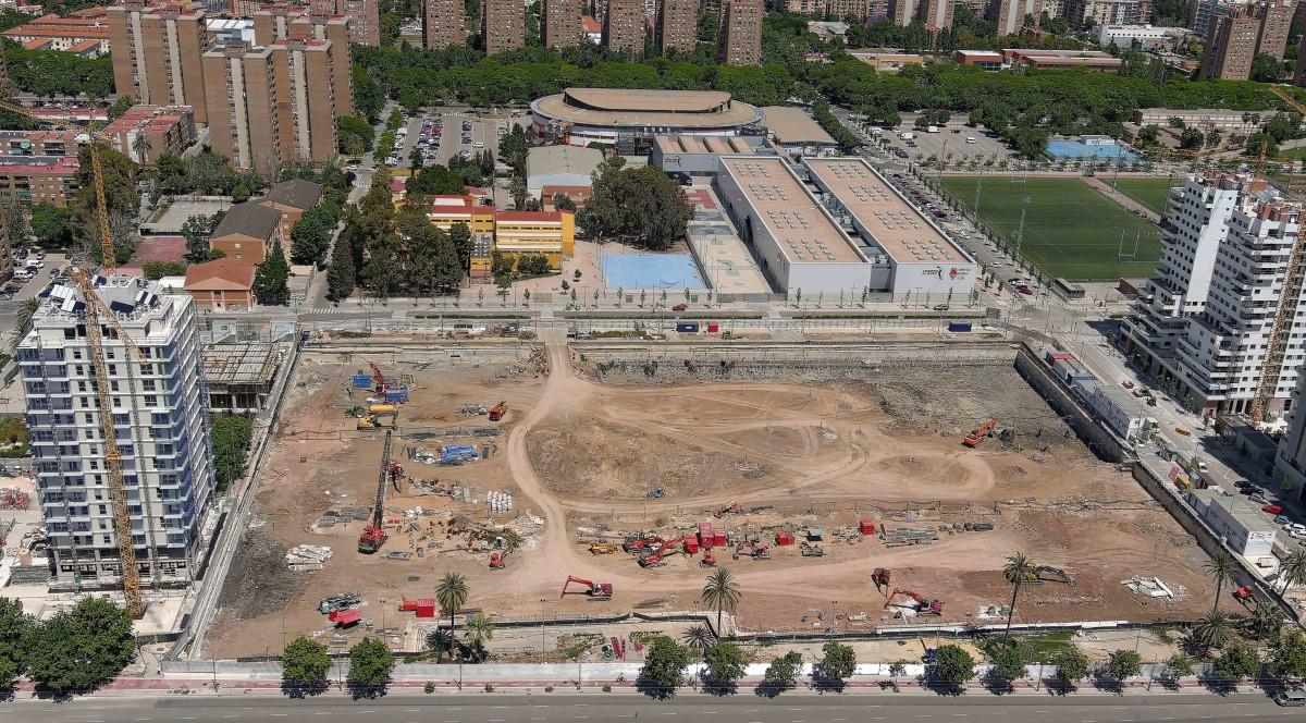 Vista aérea de las obras de Casal España Arena de València