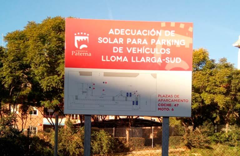 Cartel del parking de la Lloma Llarga/ Foto: Compromís per Paterna