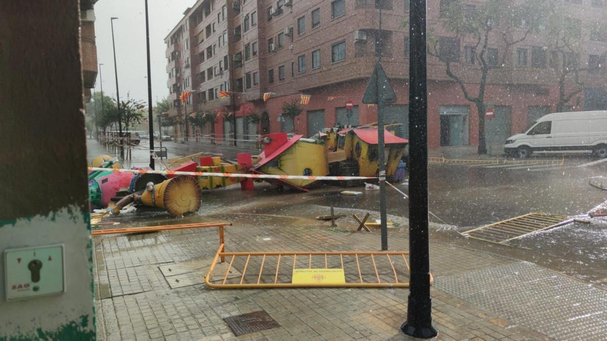 Falla Plaza Europa de Aldaia, caída por la lluvia y el viento